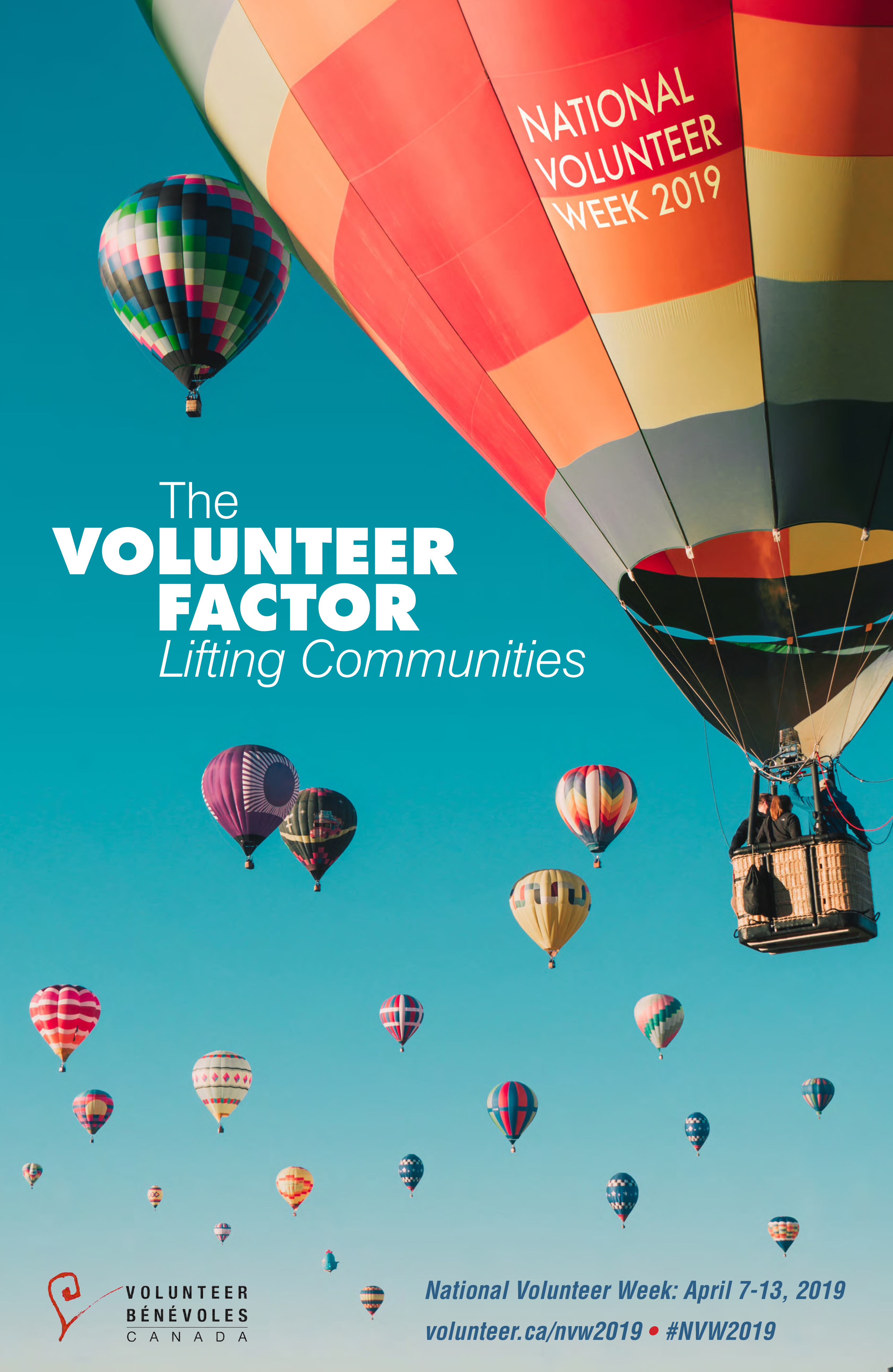"Many hot air balloons in the sky, one large one says ""National Volunteer Week 2019"", theme in the middle ""The Volunteer Factor - Lifting Communities"""
